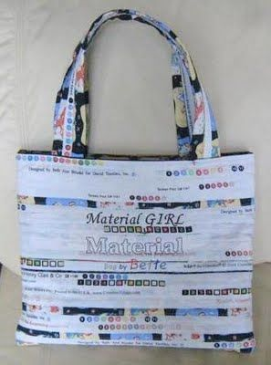 Selvage bag--what a great way to use something you throw away!