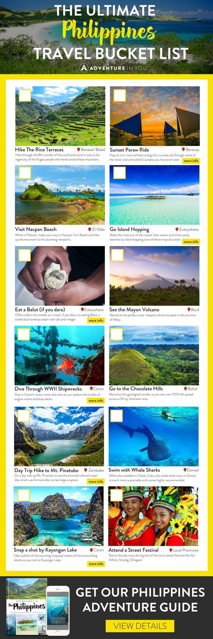 Philippines Travel   Planning on heading to the Philippines and looking for an itinerary and things to do? Get a FREE copy of our Philippines Bucket List guide featuring all the best things to do in the Philippines #pinoyupdate ppines #asian #southeastasia #pinoy