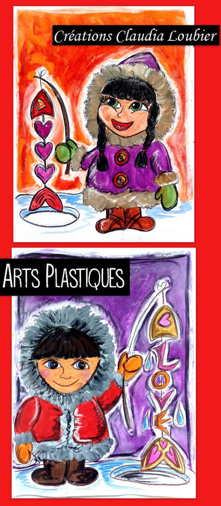 Projet d'arts plastiques pour l'hiver et la St-Valentin. Pour les 3e année et plus. Vous aurez besoin de crayon de bois noir, de gouache en pain, d'une craie à tableau et de fusain. Le fusain n'est pas obligatoire. Démarche avec photo ainsi que grille d'évaluation incluse. Bonne pêche !