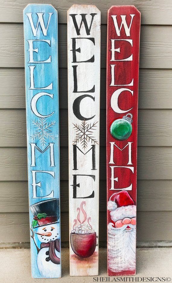 Christmas Welcome Sign Winter Welcome Sign Snowman Welcome Sign Vertical Front Door Welcome Sign Santa Welcome Sign Christmas Decor Christmas Signs Wood Christmas Wood Christmas Diy