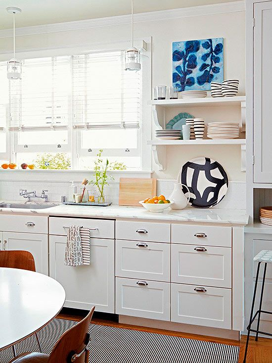 Replace Cabinets with Open Shelving great handle idea for cabinet next to sink