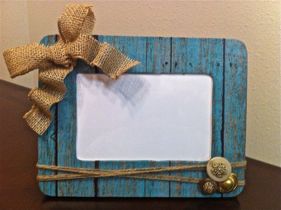 Turquoise Burlap Picture Frame on Etsy, $9.00