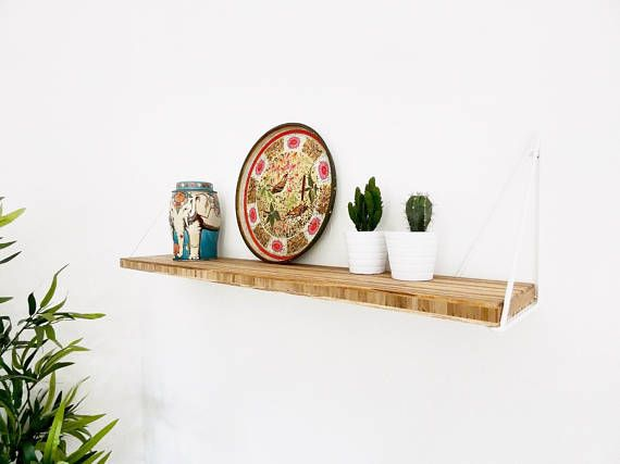 Classic Bamboo shelf in 'Agave' with modern  Pythagoras triangle brackets