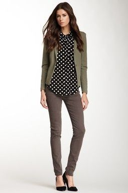 Fall/winter outfit with polka dot top, olive green blazer and jeans... | Street Fashion