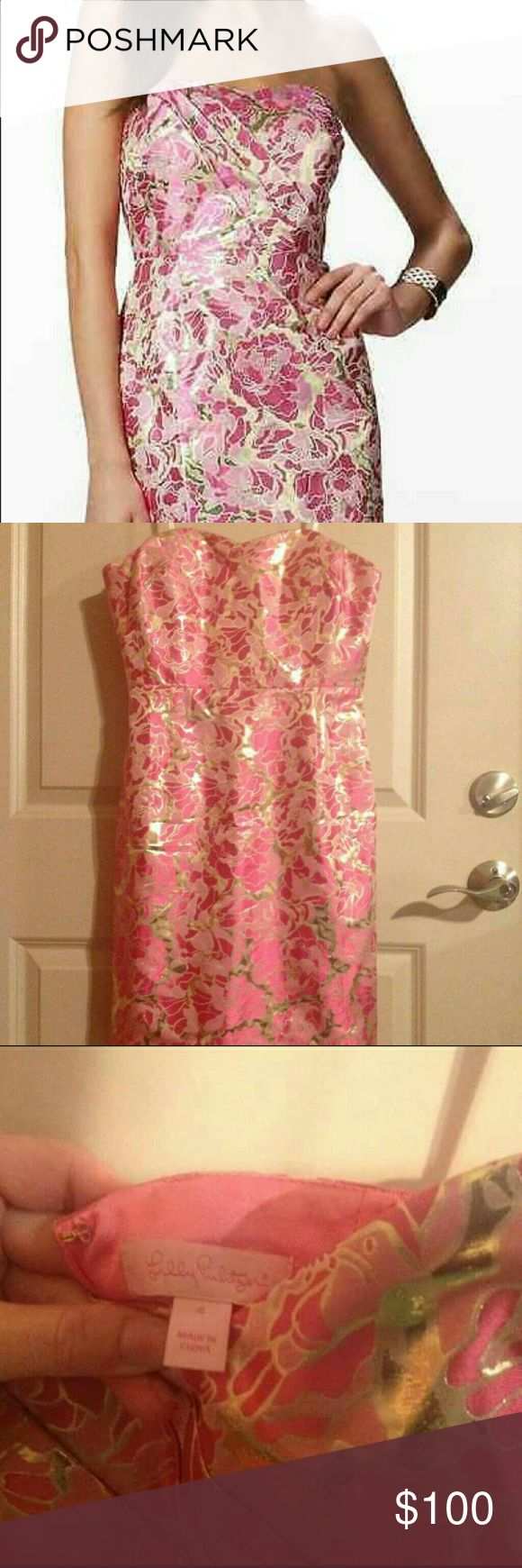 Lilly Pulitzer Raya Pink & Gold Dress, Size 4 Absolutely beautiful pink & gold strapless Lilly Pulitzer Raya Floral Metallic Jacquard dress.   30% silk, 70% metallic.  Perfect for a shower, rehearsal, wedding guest, or semi formal.  Structured bust.  Concealed back zip with clasp. Lilly Pulitzer Dresses Strapless