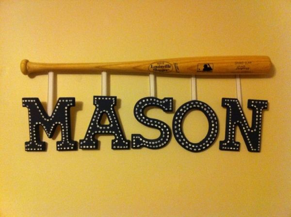 Little boy baseball room decor, saw on Pinterest for $150, made myself for less than $30 by lea