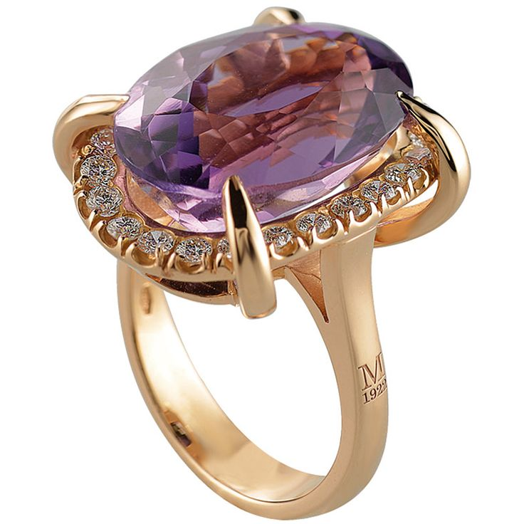 Moraglione 1922 - Anello Grace in oro rosa con diamanti e ametista. Foto courtesy press office  - See more at: http://www.vogue.it/vogue-gioiello/shop-the-trend/2015/02/gioielli-ametista-viola#ad-image