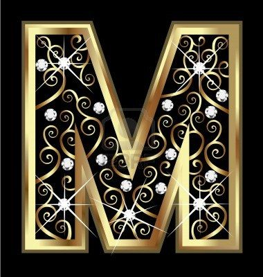m gold letter with swirly ornaments stock photo
