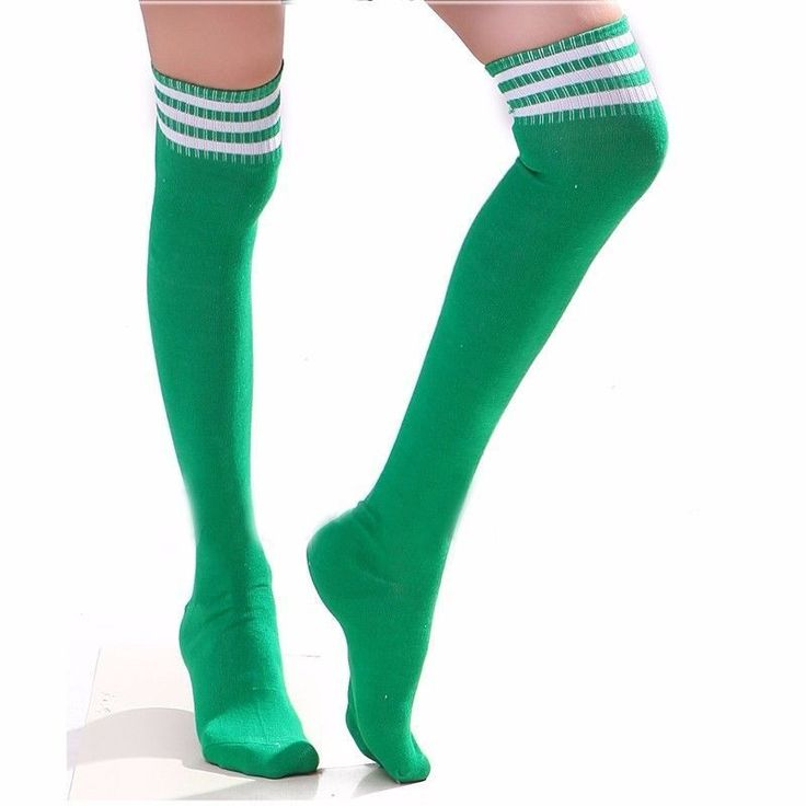 St Patricks Day Thigh High Over Knee Athletic Soccer Rugby Sports Stripes Socks  #LegAvenue #Casual