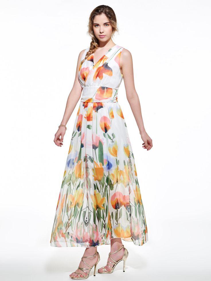 Ericdress Print V-Neck Sleeveless Maxi Dress 2