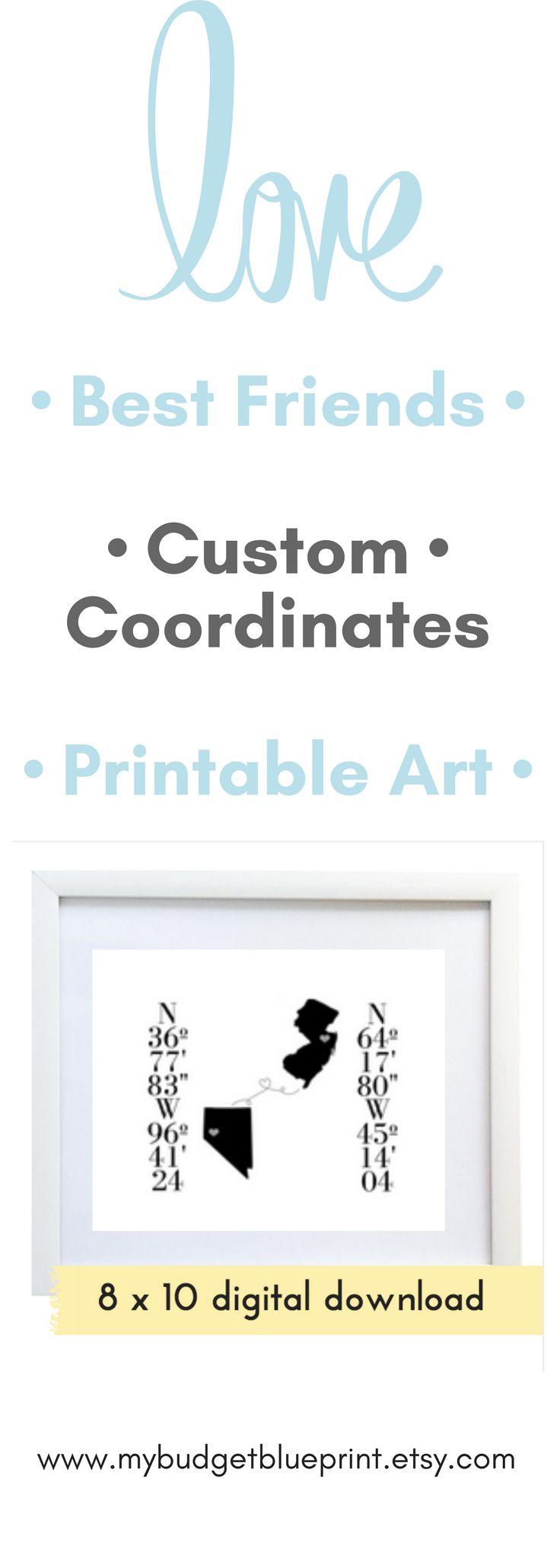 Friendship, Wall Art, Long Distance Best Friend Gift, Custom Coordinates Printable, Latitude Longitude, Long distance, Housewarming, JPEG
