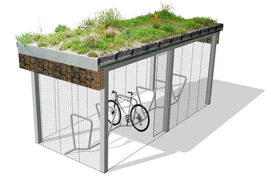 Green Roofed Cycle Shelters including bug habitat panels on the sides. Love, though doubt we'll be seeing an in SA anytime soon...