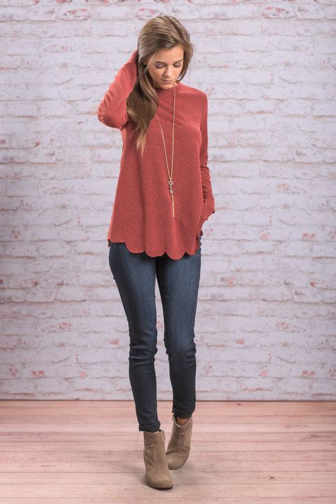 """Simply Darling Top, Marsala"" The name says it all! This top IS simply darling! The scalloped hemline really takes this solid to another level! #newarrivals #shopthemint"