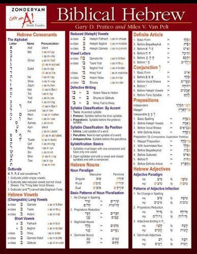 Biblical Hebrew Laminated Sheet (Zondervan Get an A! Study Guides) by Gary D. Pratico, http://www.amazon.com/dp/031026295X/ref=cm_sw_r_pi_dp_1UhWrb0XNDPDQ