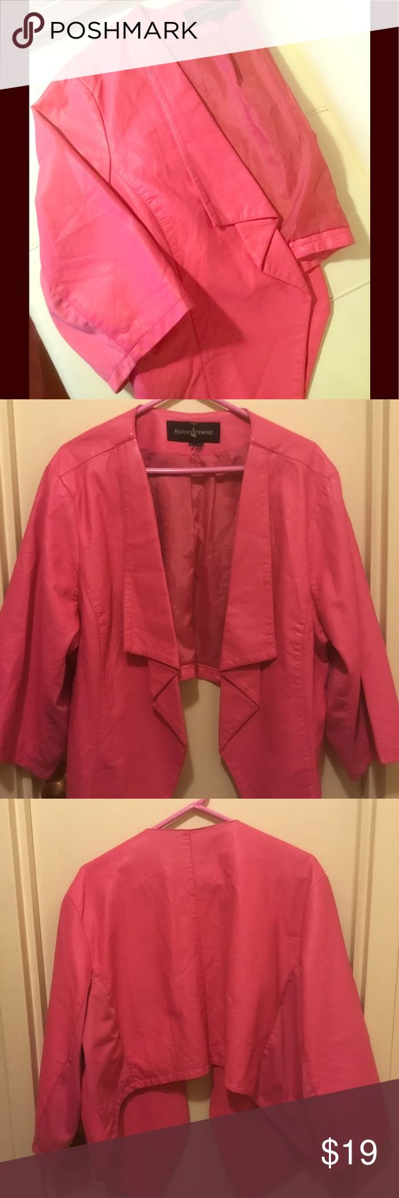 Ashley Stewart Pink Cropped Vegan Faux Leather Lar Ashley Stewart Pink Cropped Vegan Faux Leather Size Large Ashley Stewart Jackets & Coats