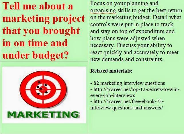 Nice Related Materials: 82 Marketing Interview Questions. Ebook:  Interviewquestionsebooks.com/download/