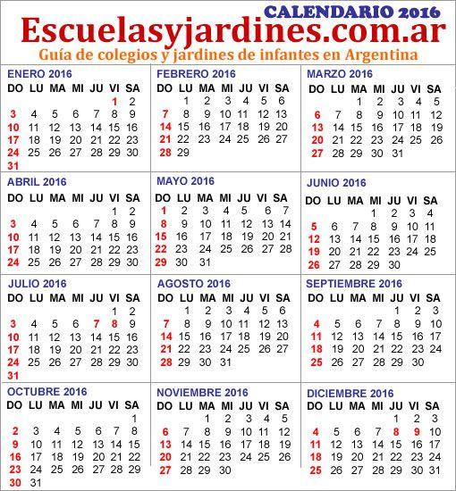 Calendario 2016 para imprimir. Feriados en Argentina, fines de semana largo 2016, vacaciones de invierno y de verano 2016.