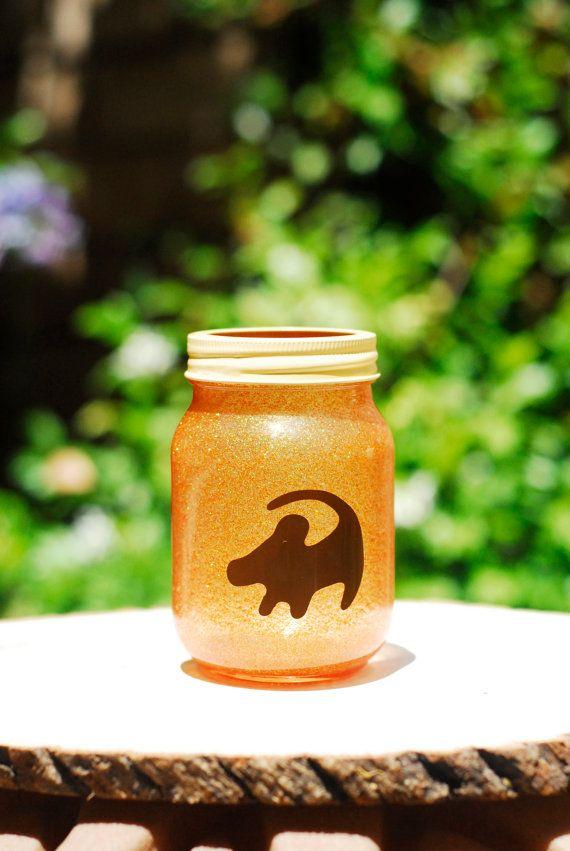 Tinted Glitter Mason Jar - Disney's The Lion King/Simba inspired