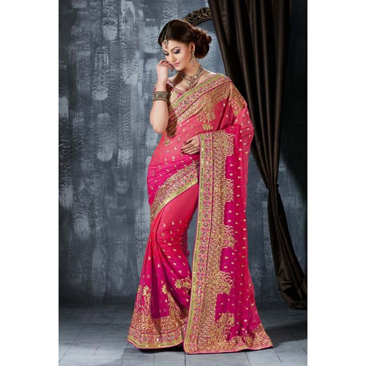 Urvashi Rautela Pink Chiffon #Saree With Blouse- $100.98