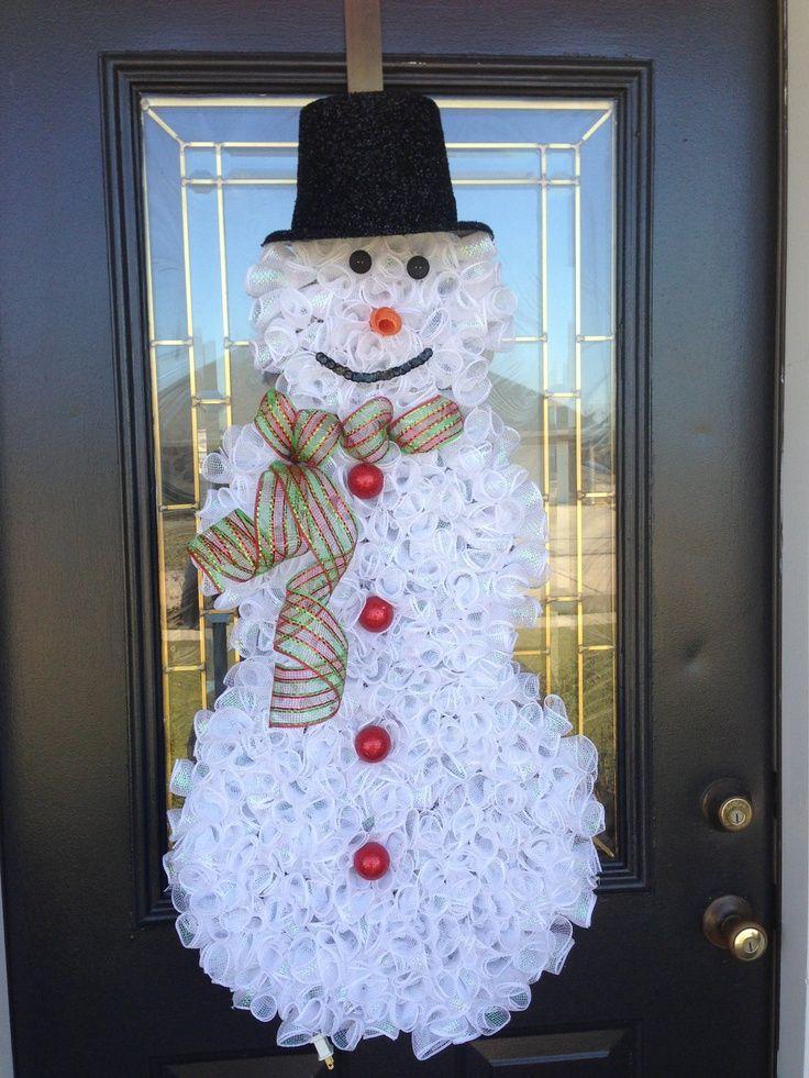 Snowman Wreath Ideas   Christmas Wreath Curly Deco Mesh Christmas Snowman. $75.00, via Etsy.