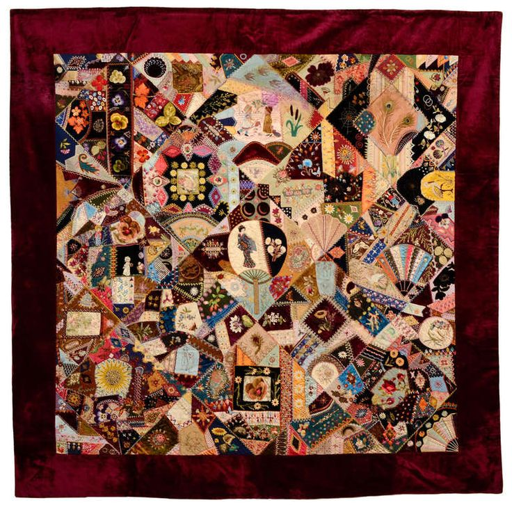 Extraordinary Victorian Crazy Quilt ~ click through to see a close up of the elaborate embroidery.  The center is a beautiful fan and geisha image ~| From a unique collection of antique and modern quilts at http://www.1stdibs.com/furniture/folk-art/quilts/