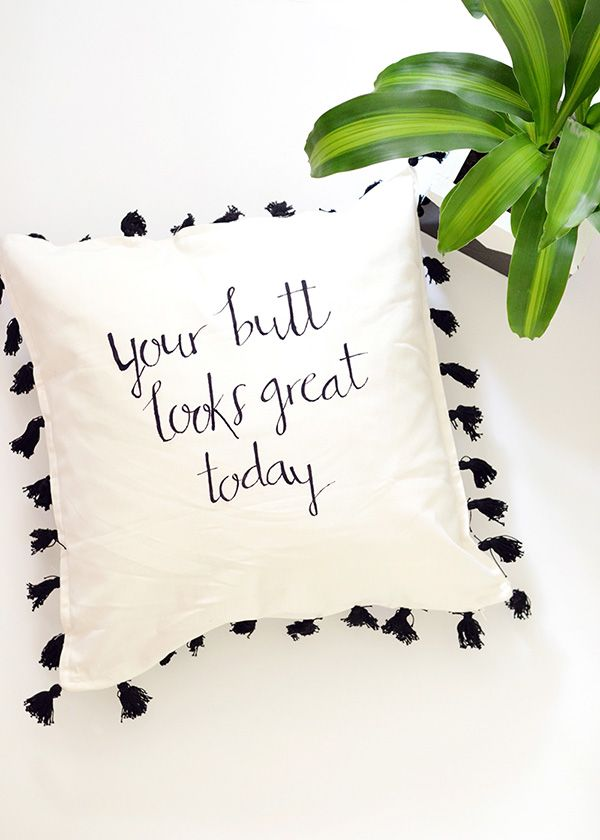 Make your decor | Hand lettered cushion cover for We Make Collective