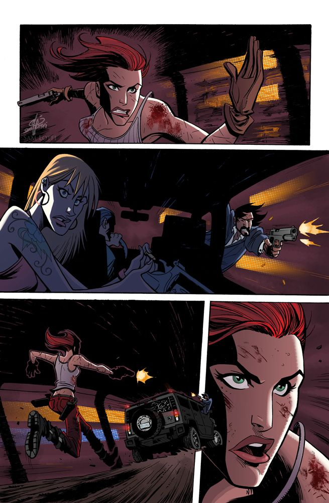 Page 2 of the upcoming Painkiller Jane origin story. Art by Sam Lotfi