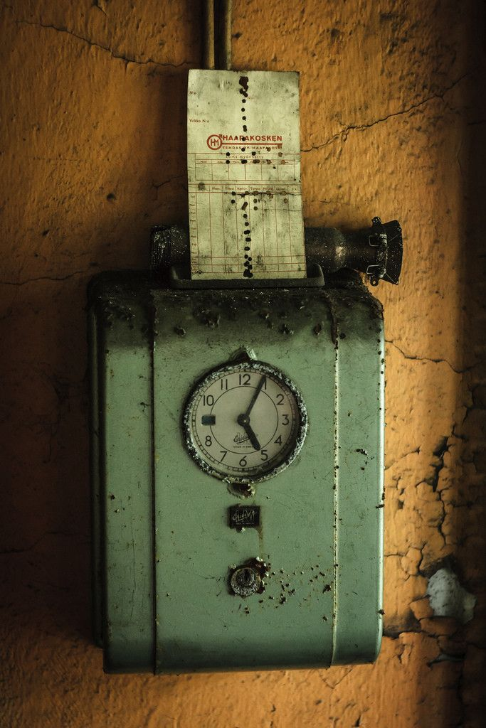 Abandoned time clock.  Finland.