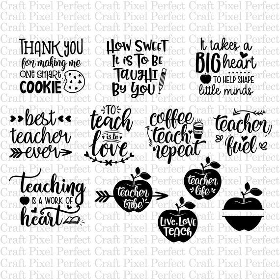 Teacher Svg Bundle Teacher Quotes Svg Teacher Appreciation Etsy In 2020 Teacher Appreciation Gifts Diy Teacher Appreciation Quotes Teacher Appreciation