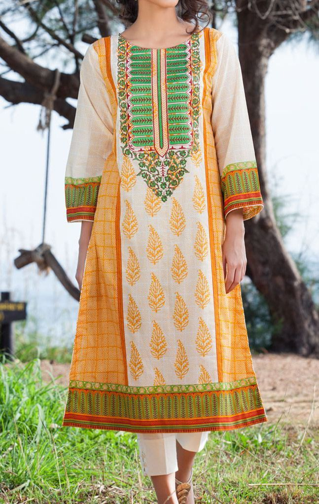 Buy Lemon Embroidered Cotton Lawn Kurta by Orient Embroidered Lawn Kurti 2015.