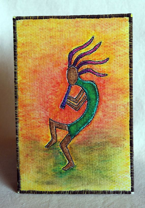 Kokopelli, Fabric Postcard, Southwest art, Native American ...