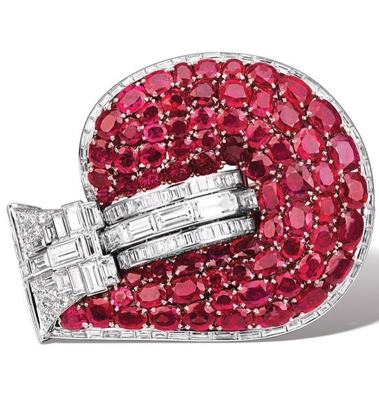 Marlene Dietrich's ruby and diamond Jarretière cuff bracelet made by Van Cleef & Arpels circa 1937