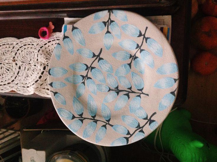 Тарелка ручная работа! Цветочный орнамент в стиле акварель!