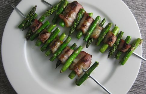 Bacon Asparagus Skewers — Asparagus is woven with strips of bacon to create a not only delicious, but attractive side dish perfect for your next barbeque.