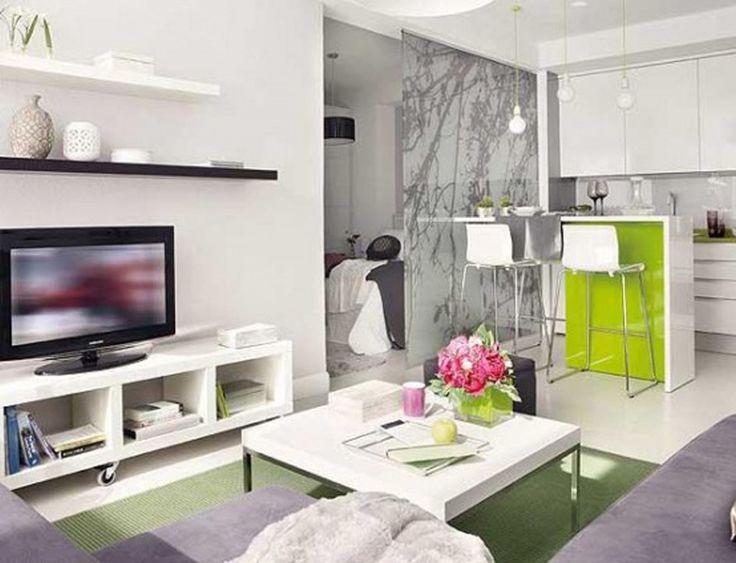 Apartment, Square White Coffee Table White Console With Storage Modern Led Tv Green Rug L Shaped Purple Sofa Black And White Shelves Lacquered Kitchen Table With Bar Stools Lacquered Pendant Lamp Bulbs White High Gloss Floor Tile: Interesting Design of Very Small Apartment And Photos