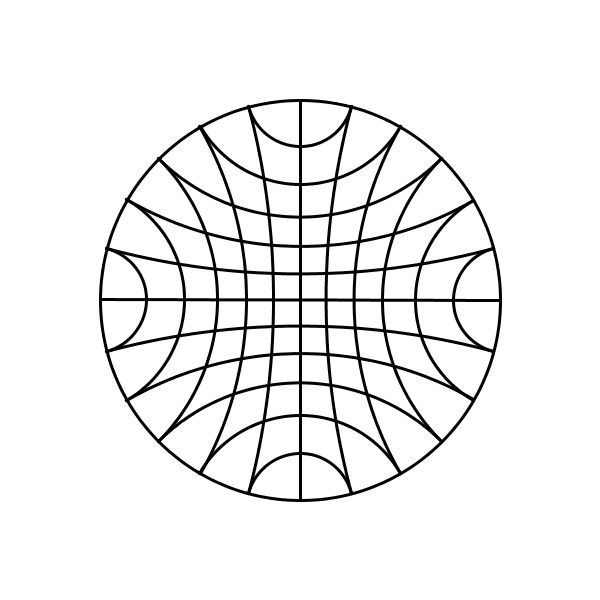 "szimmetria-airtemmizs: "" Currently I am working on some code to be able to draw hyperbolic geometry. I can already do some stuff. For example in this picture there are two sets of paralel lines. I use..."