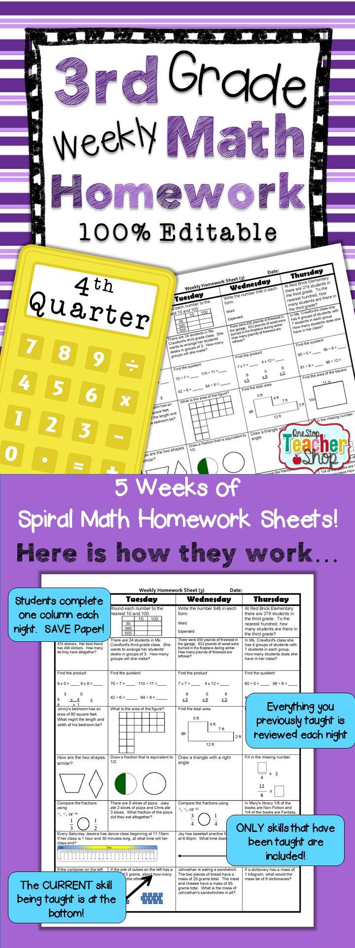 3rd Grade Math Review & Quizzes Homework or Morning Work