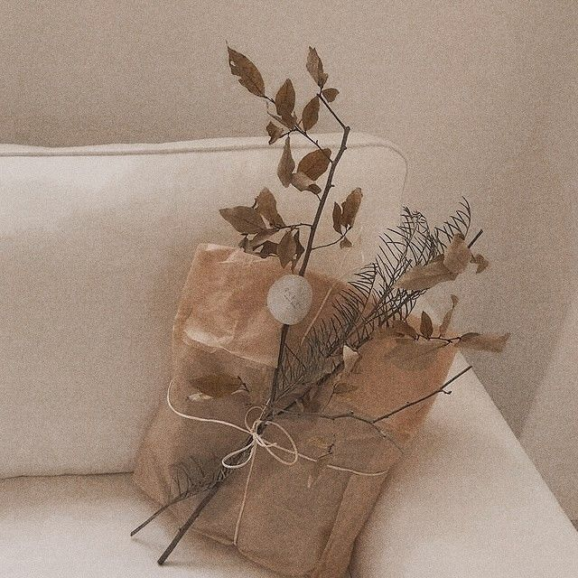 Aesthetic Brown Bunga Vintage Bunga Kering Seni Latte
