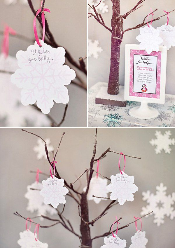 Wishes for baby written on snowflakes - Cozy Pink Penguin Winter Wonderland Baby Shower // Hostess with the Mostess®