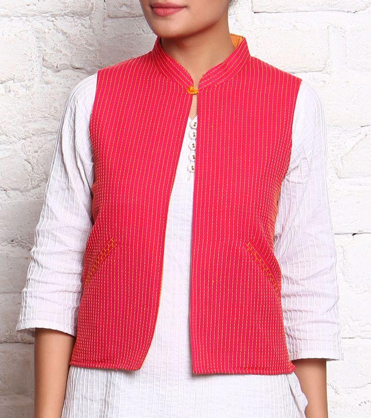 Rani Hand Loom Cotton Embroidered Jacket #cotton #embroidery #kurtis #jackets