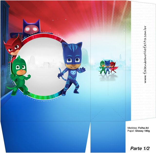 Super Héroes en Pijamas: Cajas para Imprimir Gratis.