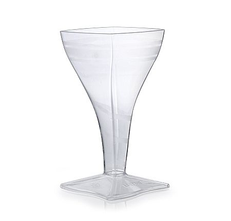 Posh Party Supplies - Clear Tiny Square Wine Glass - 2 Oz. - 96 Plastic wine Glasses, $41.35 (http://www.poshpartysupplies.com/elegant-dinnerware/posh-minis/clear-tiny-square-wine-glass-2-oz-96-plastic-wine-glasses/)