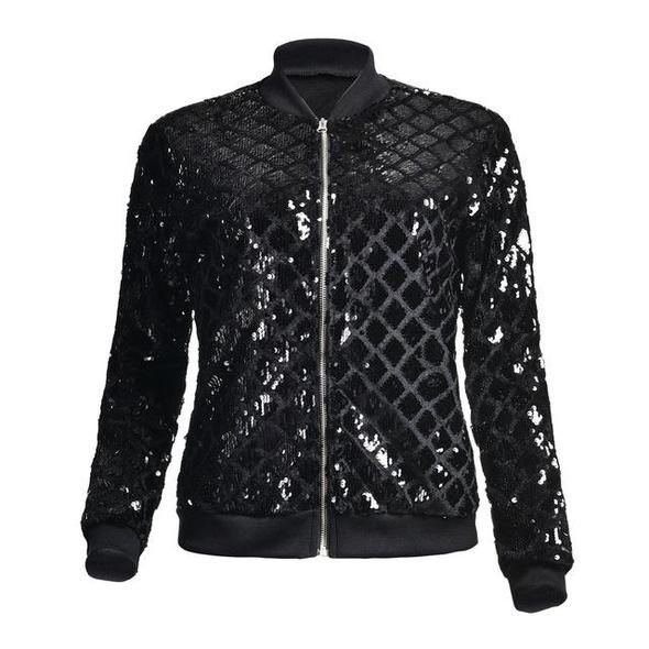Sequin Bling Streetwear Long Sleeve Zipper Bomber Jacket