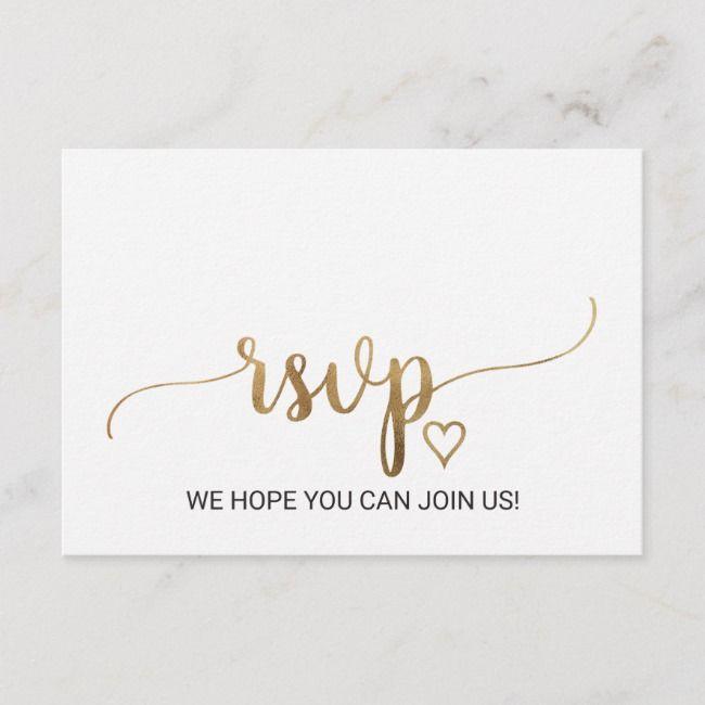 Simple Gold Calligraphy Menu Choice Rsvp Card Zazzle Com