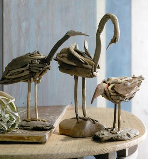 Wood sculptures are formed from driftwood to create distinctive and original tabletop birds. Available exclusively at Fairweather House & Garden in Seaside, the birds are intricately crafted to form native shoreline and sea birds. Micro finish nails are used to stabilize the birds that are then secured to a larger driftwood piece.
