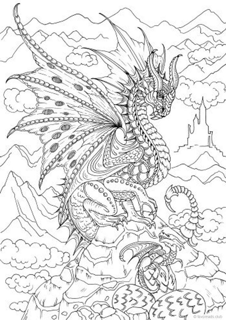 Pin On Dragon Coloring Page