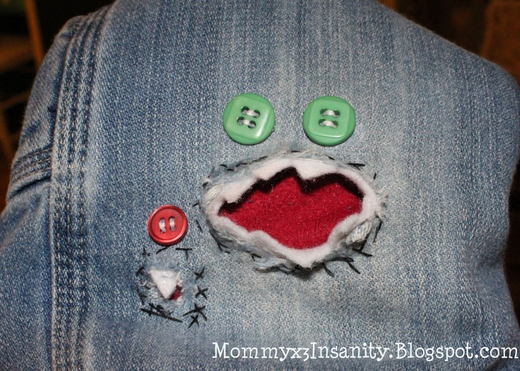 Lets Patch Things Up!: A Mini-Saia Jeans, Monsters Patches, Halloween Idea, Patches Things, Patches Jeans, Cans Crafts, Kids, Frogs, Crabs