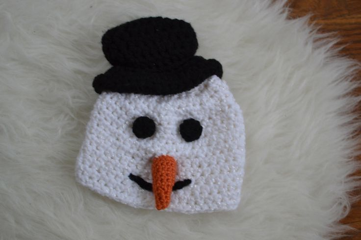 A personal favorite from my Etsy shop https://www.etsy.com/ca/listing/258966111/ready-to-ship-snowman-crochet-baby-hat