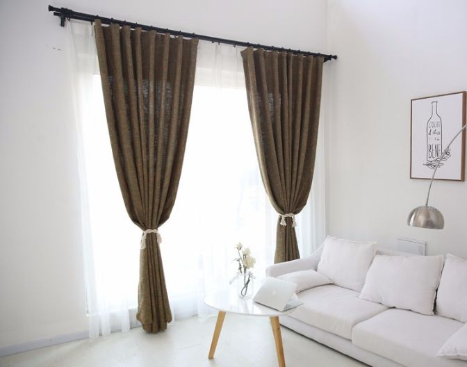 The green and brown burlap curtains add a soft elegant style for your home decor. The green and brown color is the perfect complement to any white decor. It cre