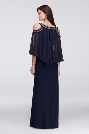fda67101eac Cold Shoulder Capelet Dress with Beading
